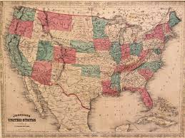 Framed Maps Of The United States by Alvin Jewett Johnson Map Of The United States 1864 Framed And