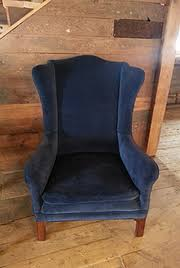 Blue Velvet Wingback Chair A Family Affair Of Maine Maine Wedding Planner Maine Prop Rentals