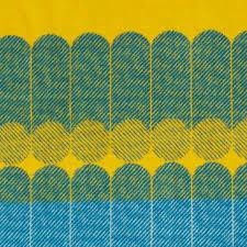 modern graphic midsummer wool throw blanket in yellow dusty blue