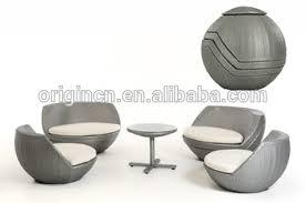 5 pcs global ball egg shaped stackable silver grey rattan single