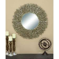 Twig Wall Decor Unfinished Wood Round Mirrors Wall Decor The Home Depot