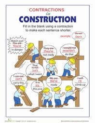 third grade grammar worksheets contractions in construction