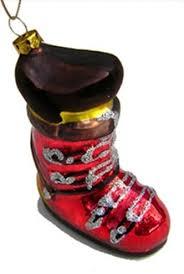 glass ski boot ornament
