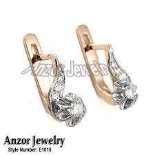 childrens gold earrings anzor jewelry children s diamond earrings russian jewelry 14k