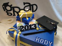 unique graduation card boxes royal blue yellow white with black accents graduation card box
