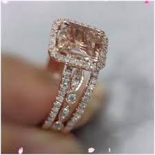morganite wedding set morganite wedding ring best of shop pink morganite gold
