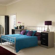 Bedroom Furniture Sets Black Black Gloss Smoky Oak Bedroom Furniture Set With Blue Bed Blanket