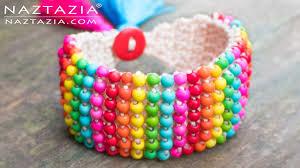 bracelet crochet beads images Crochet boho bead bracelet bohemian beaded cuff diy tutorial jpg