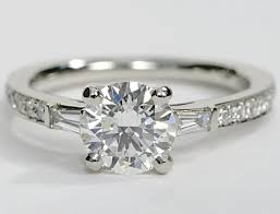engagement rings with baguettes pave engagement ring with baguette sidestones in platinum