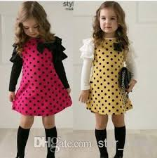 discount korean girls dress polka dots tiered puff long sleeve bow