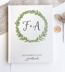 guest books wedding custom initial wreath wedding guest book stationery paper