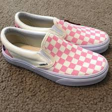 light pink checkered vans vans shoes customized pink checkered poshmark