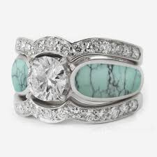 Turquoise Wedding Rings by Turquoise Tourmaline And Diamond Wedding Ring And Engagement Ring