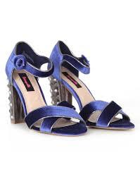 blue heartbreaker velvet and studded heeled sandals betseyville