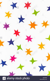 various stars cut out from colored paper on white background stock