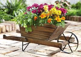 wheelbarrow planter garden displays wheelbarrow