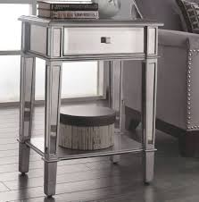 Mirrored Accent Table Mirrored Accent Table With Drawer Gray How To Decorate Mirrored