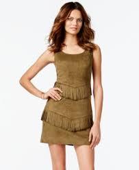 vakko for inc faux suede fringe sheath dress dresses women