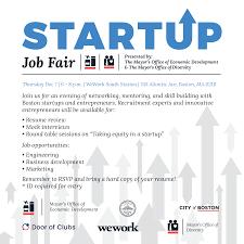 under the table jobs in boston startup job fair 12 07 17