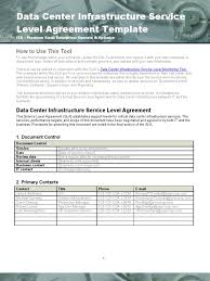 data center infrastructure sla template service level agreement