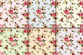 set of vintage seamless patterns with roses vector eps 10 stock