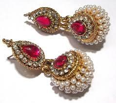 punjabi jhumka earrings buy pink pearl jhumka earring online