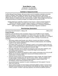 Project Management Resume Template Construction Project Manager Resume Examples Project Manager