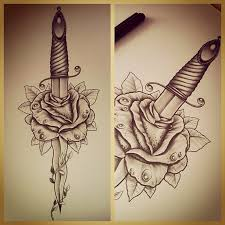 dagger rose tattoo design best tattoo designs