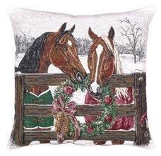 amazon com horse u0027s holiday decorative christmas throw pillow 17