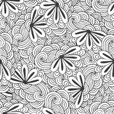 doodle seamless waves pattern flowers vector zentangle