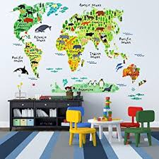wall decal awesome world map wall decal for kids personalized