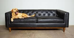 Midcentury Leather Sofa Black Leather Sofa In Walnut Wood Finish Article Alcott Modern