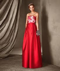 elegant long strapless lace floral party dress pronovias candela
