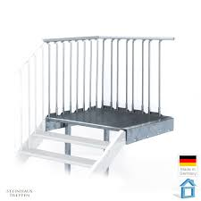 steinhaus treppen podest für stahltreppe 80 cm feuerverzinkt mit stützen