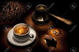 beautiful coffee still life on a black background stock photo