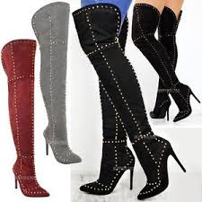 s knee boots on sale womens studded the knee thigh boots high heel stilleto