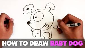 how to draw a cartoon baby dog tutorial step by step youtube