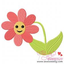 Smiley Flowers - smiley flower machine embroidery design