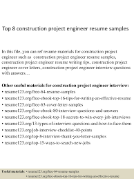 Resume Examples For Construction by Top8constructionprojectengineerresumesamples 150406202140 Conversion Gate01 Thumbnail 4 Jpg Cb U003d1428369746