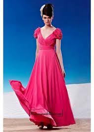 a line chiffon empire waist full length prom dress with flower cap