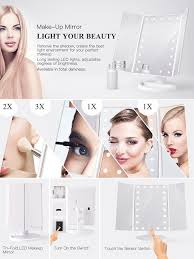 amazon com bestope vanity makeup mirror trifold 21 led lighted