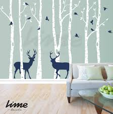 birch tree deer wall decal forest trees zoom