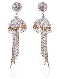 jhumka earrings with chain buy gold n white jhumka earrings stones jhumka online