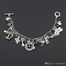 silver child charm bracelet images Alice in wonderland inspired charm bracelet alloy mushroom rabbit jpg