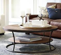 Leather And Wood Coffee Table Bartlett Reclaimed Wood Coffee Table Pottery Barn