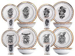 harry potter hogwarts house 16 dinner set thinkgeek