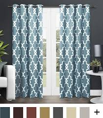 Teal Window Curtains Exclusive Home Curtains Ironwork Sateen Woven Blackout