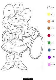 coloring pages color numbers math worksheet cowgirl coloring