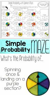 Math 7th Grade Worksheets Theoretical Probability Of Simple Events Maze With Spinners