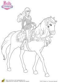 Coloriage barbie a cheval sur Hugolescargotcom